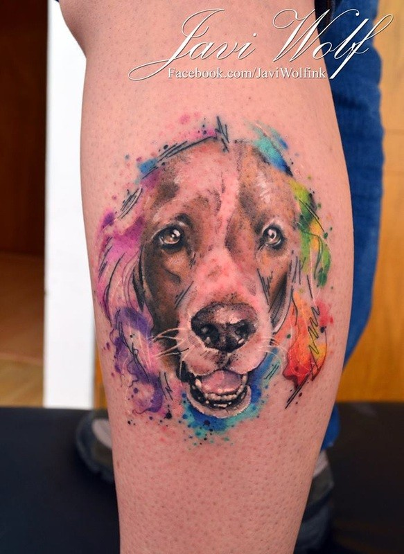 Cute dog&quots portrait calf tattoo by Javi Wolf with colored watercolor details