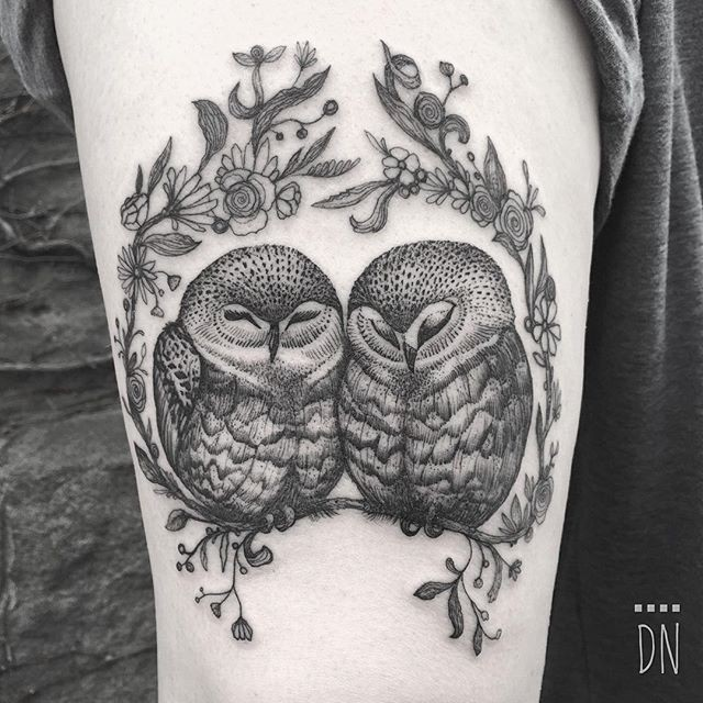 Cute dotwork style black ink tattoo of owl couple by Dino Nemec with flowers