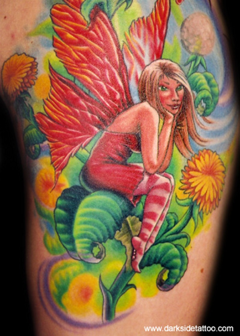 Cute fairy  sitting on dandelion flower multicolored fairy tale tattoo