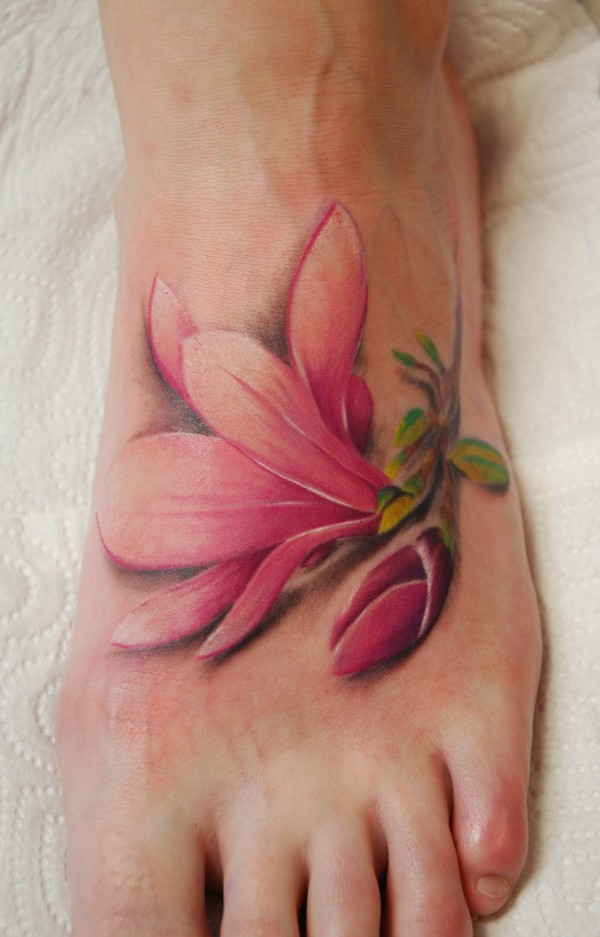 Cute flower tattoo idea on foot for elegant women