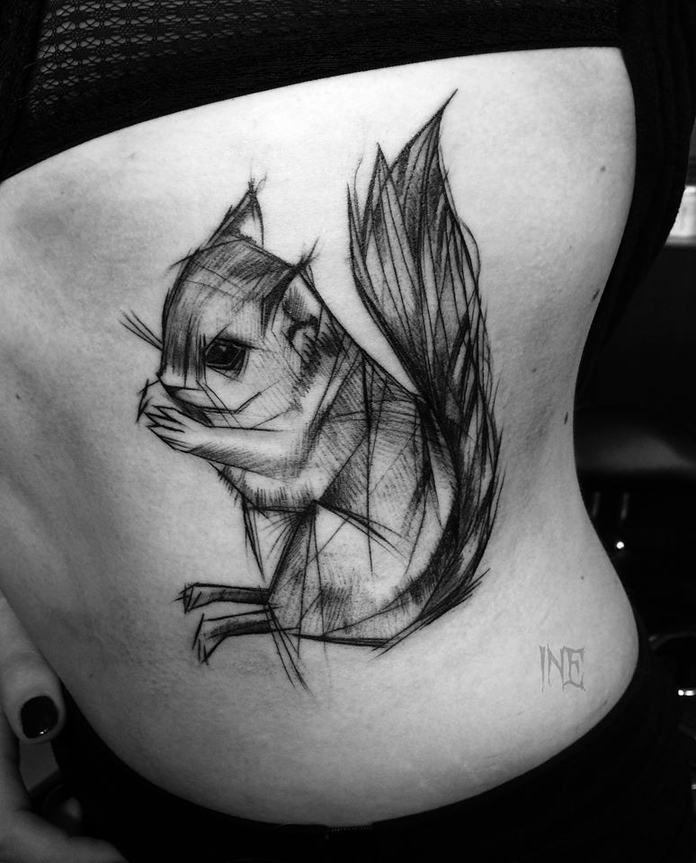 Cute funny looking painted by Inez Janiak tattoo of little squirrel sketch