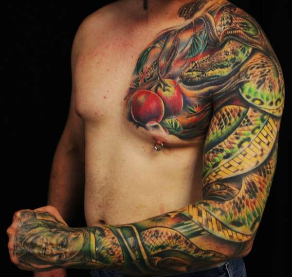 Cute illustrative style colored sleeve tattoo of evil snake with red apple