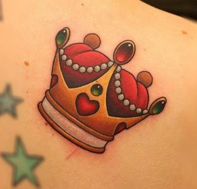 Cute little crown gold and red colors