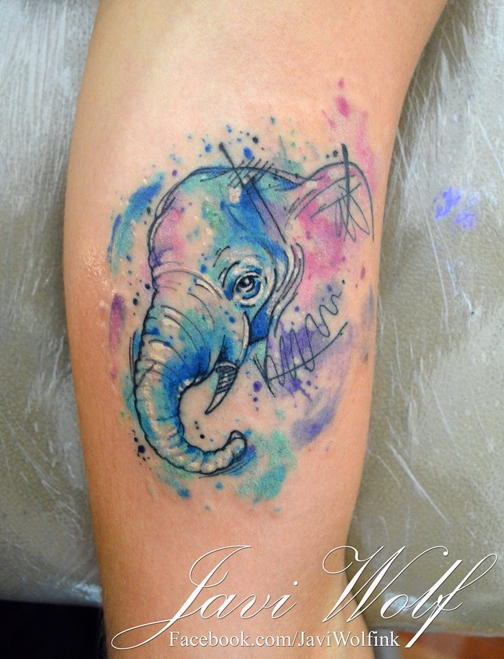 Cute little elephant&quots portrait colored tattoo in watercolor style by Javi Wolf