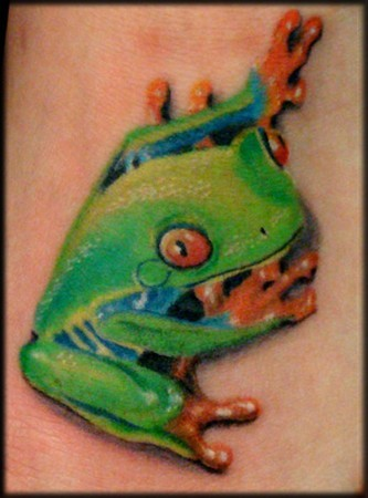 Cute little green frog tattoo