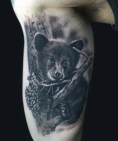 Cute little real photo like very detailed baby bear tattoo on arm
