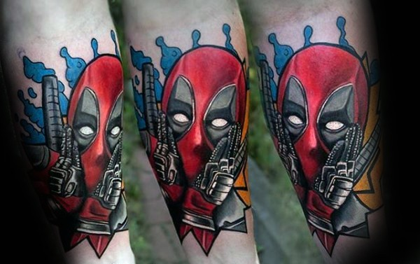 Cute looking colored forearm tattoo of scary Deadpool