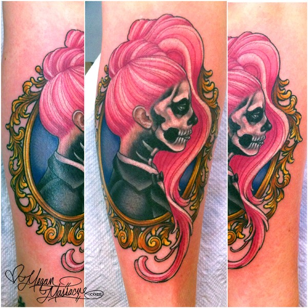 Cute looking colored leg tattoo of skeleton