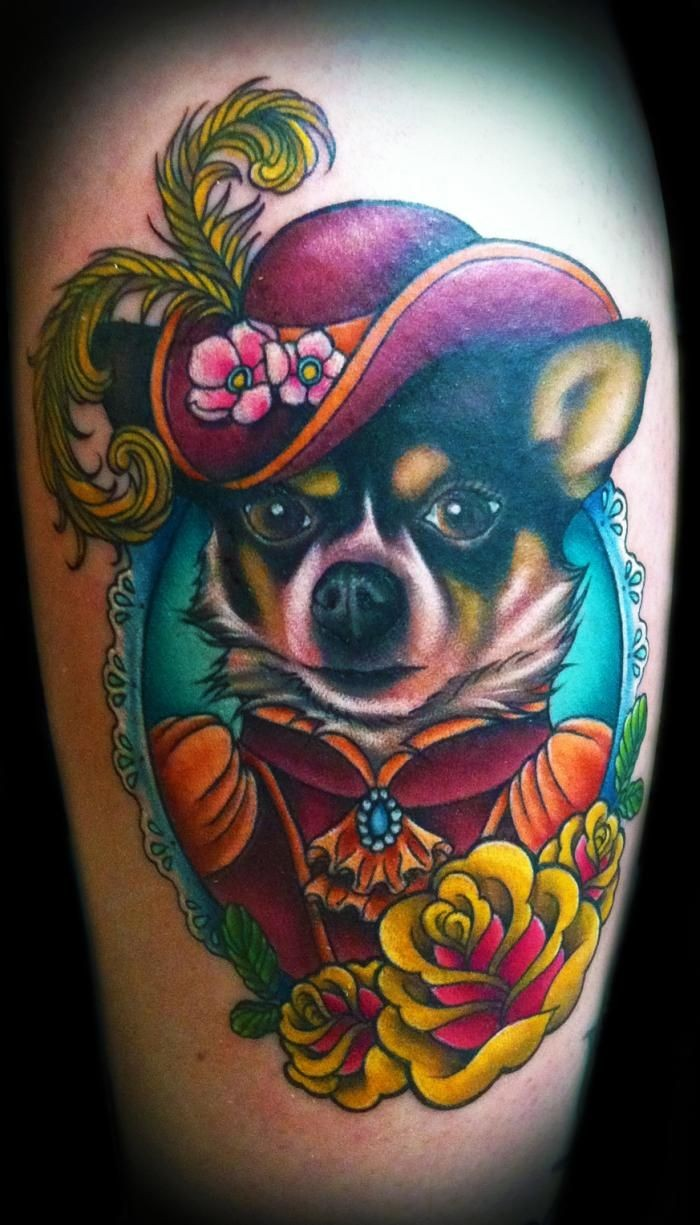 Cute looking portrait style leg tattoo of dog with hat and flowers