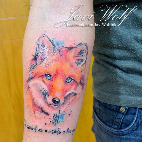 Cute looking watercolor style medium size fox face tattoo with lettering