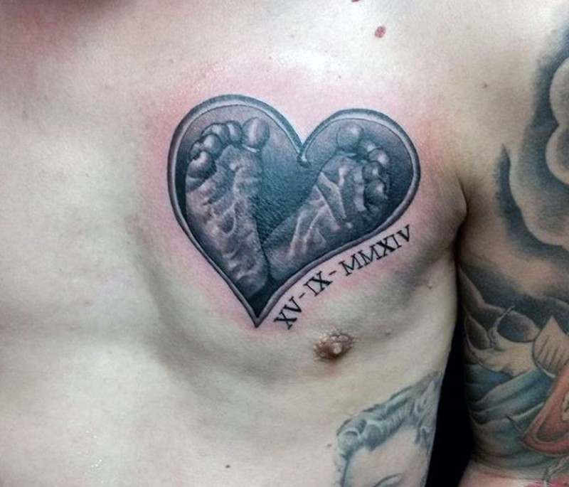 Cute Memorial Style Black Ink Heart With Baby Feet Tattoo