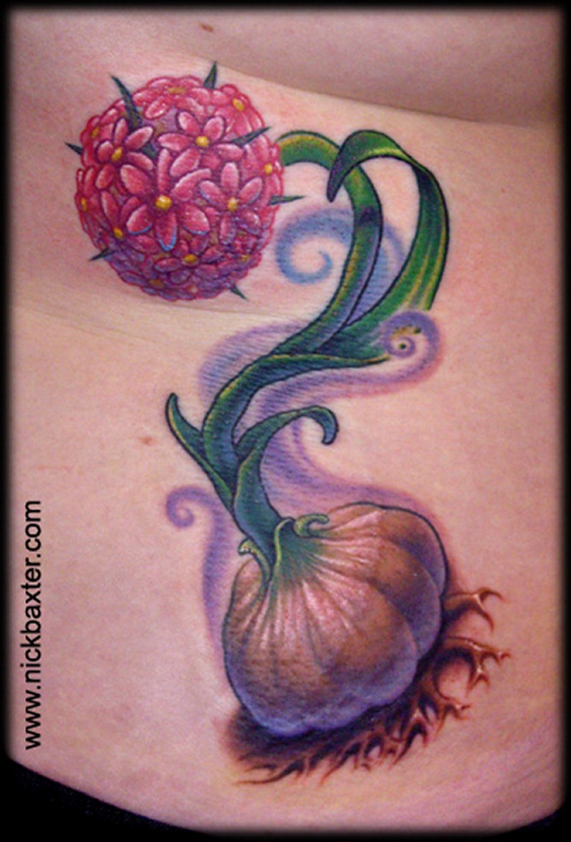 Cute natural looking colored small plant tattoo on side