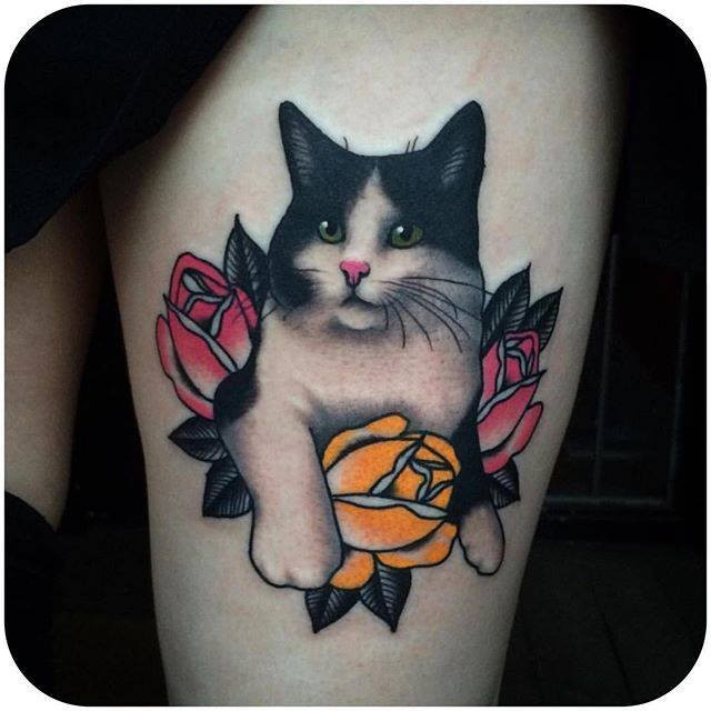 Cute New school style thigh tattoo of cat with flowers