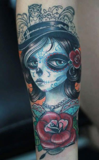 Cute new style santa muerte tattoo