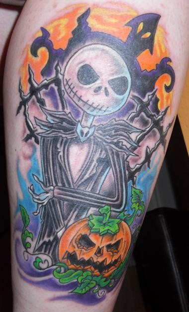 Cute old cartoon style monster on cemetery colored tattoo on leg