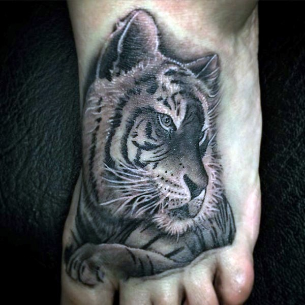 Cute painted detailed colored tiger tattoo on foot