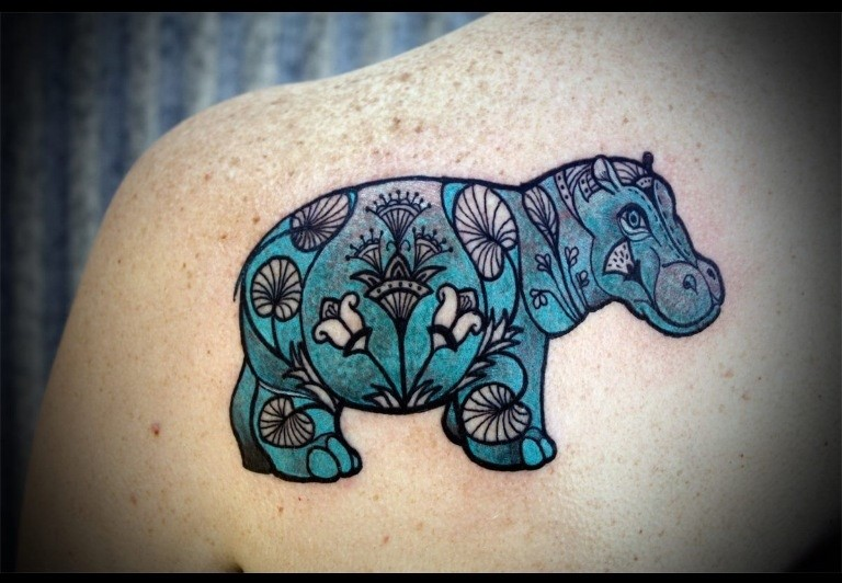 Cute patchwork blue hippo tattoo