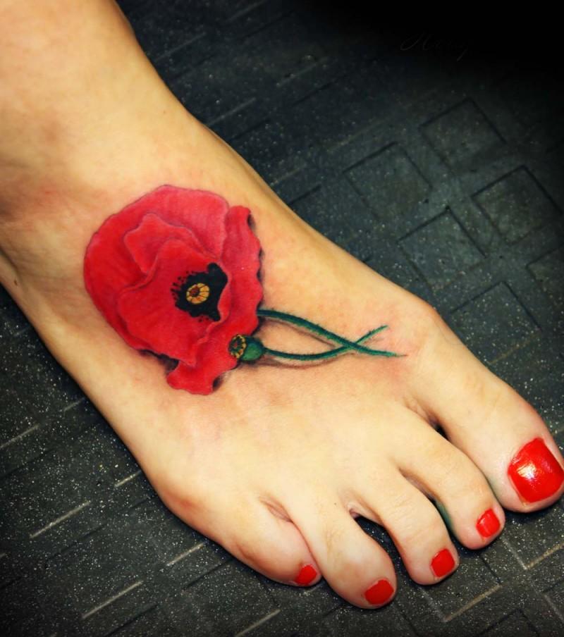Cute poppy flower foot tattoo looks like real
