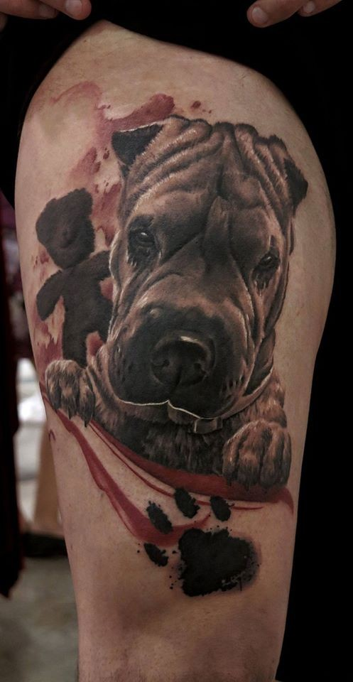Cute realism style colored thigh tattoo of funny dog face