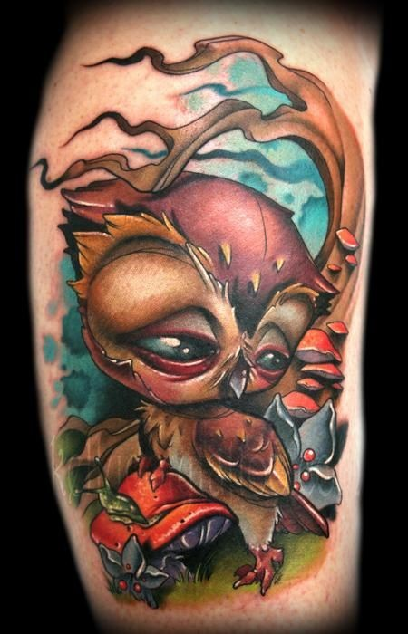 Cute sad cartoon little owl under tree with mushroom fantasy style tattoo