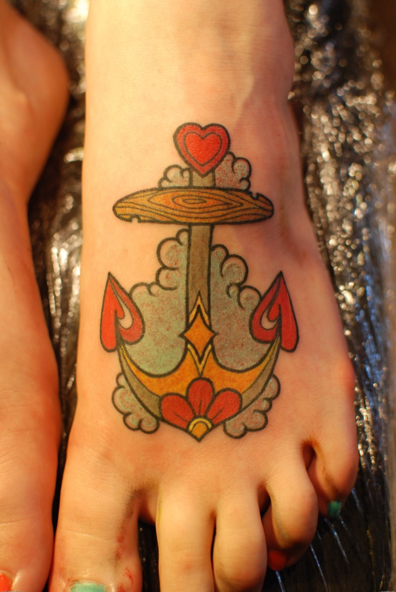 Cute sailor custom tattoo on foot for girl