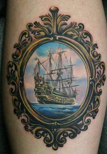 cute ship in frame tattoo