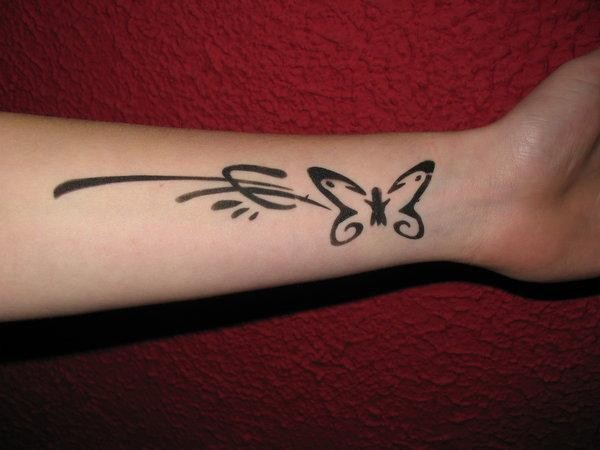 Cute simple butterfly tattoo with pattern