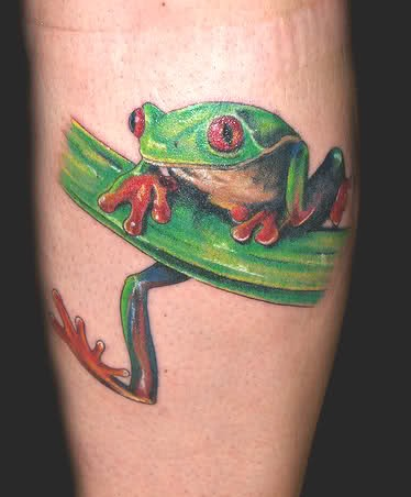 Cute small green frog tattoo
