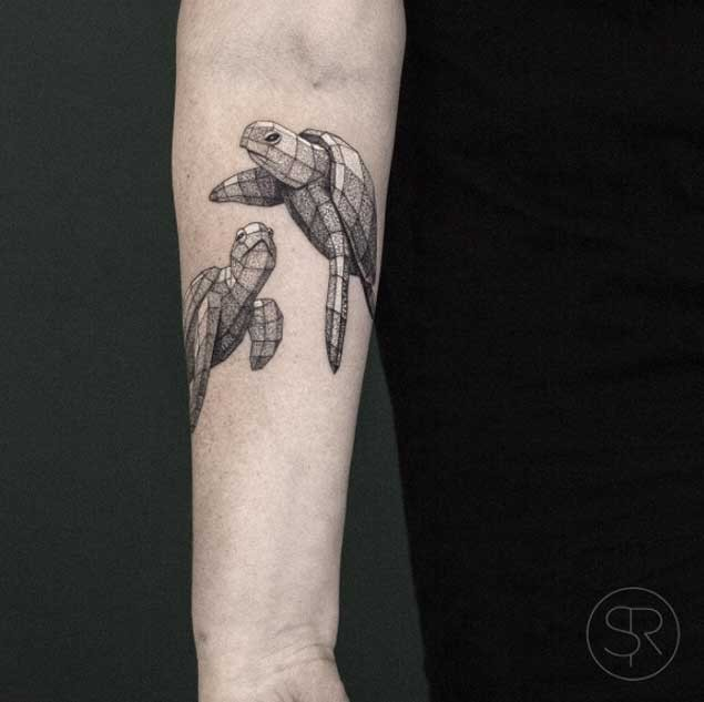 Cute swimming volume turtles tattoo on man&quots forearm in geometrical style dotted work