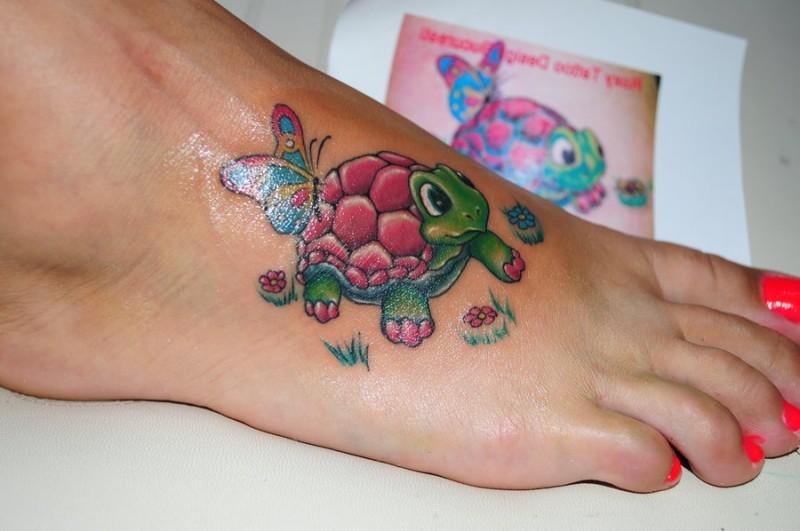 b1181a93f3b81 Cute turtle on foot - Tattooimages.biz
