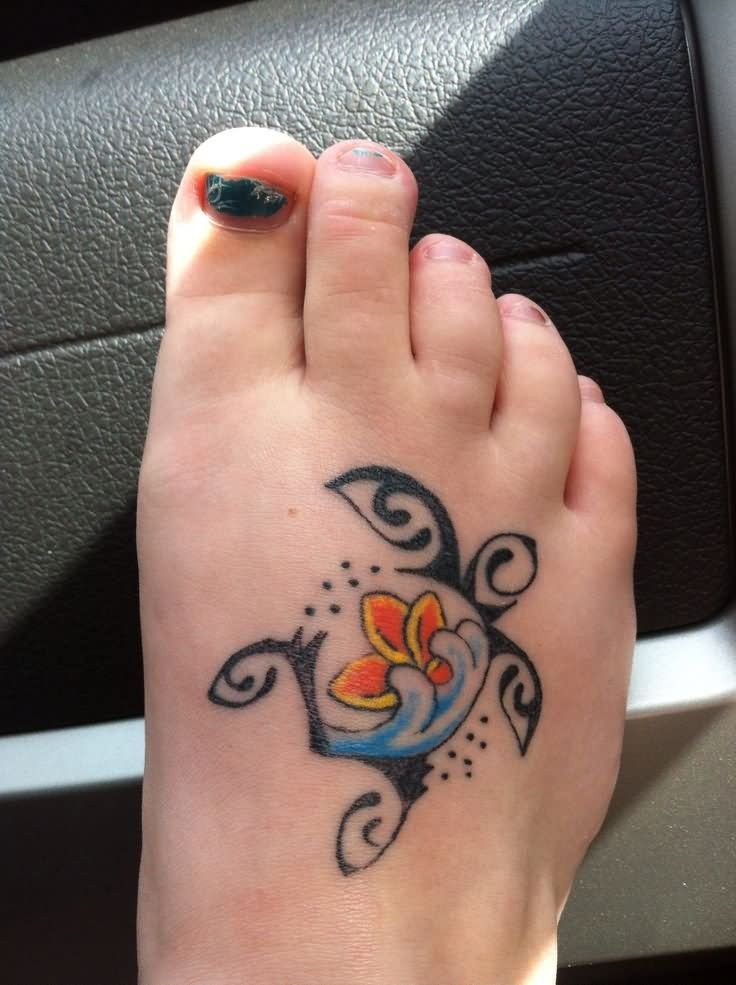 Cute turtle tattoo on right foot for girls