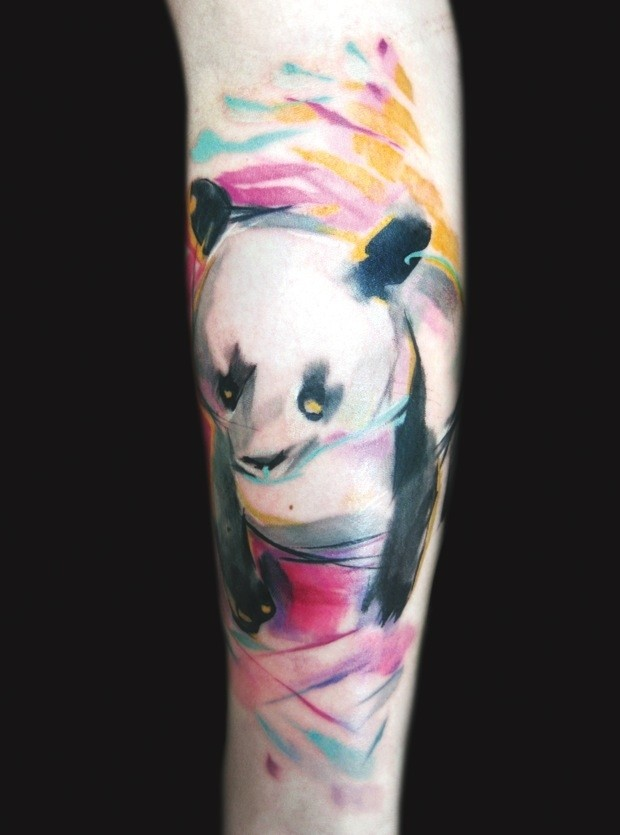 Cute watercolor panda forearm tattoo