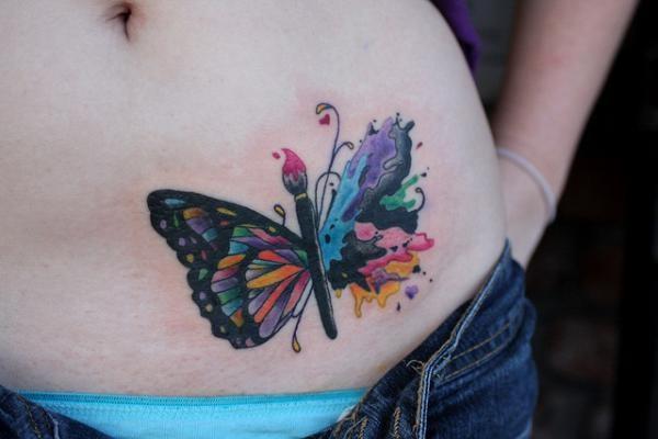 Cute watercolor style waist tattoo of cute butterfly