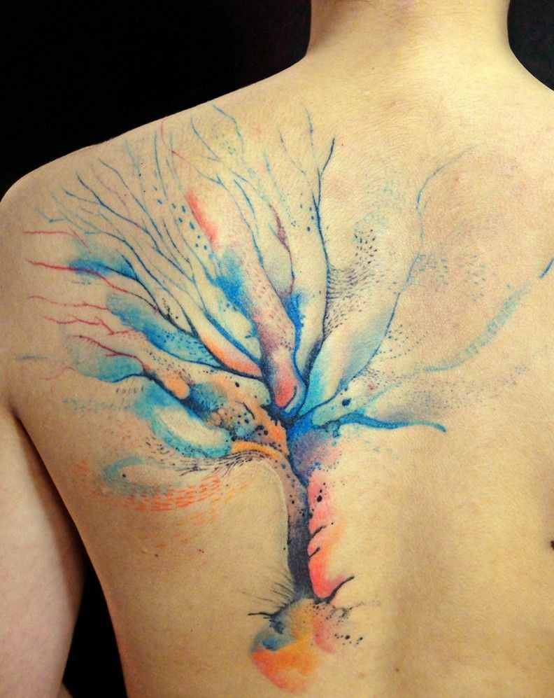 Cute watercolor tree tattoo on whole back for Tree back tattoo