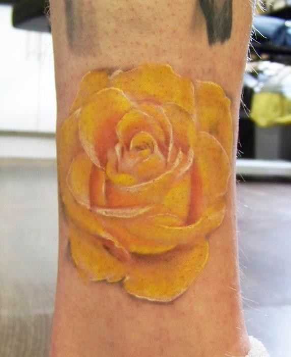 Tatuaggio colorato sul braccio la rosa gialla