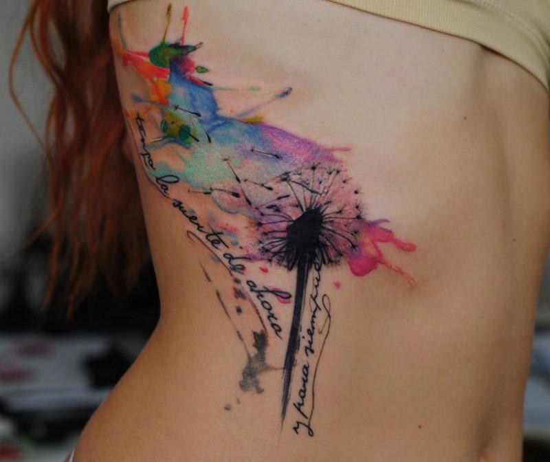 Un Pissenlit Le Tatouage Par Dopeindulgence De Style Aquarelle