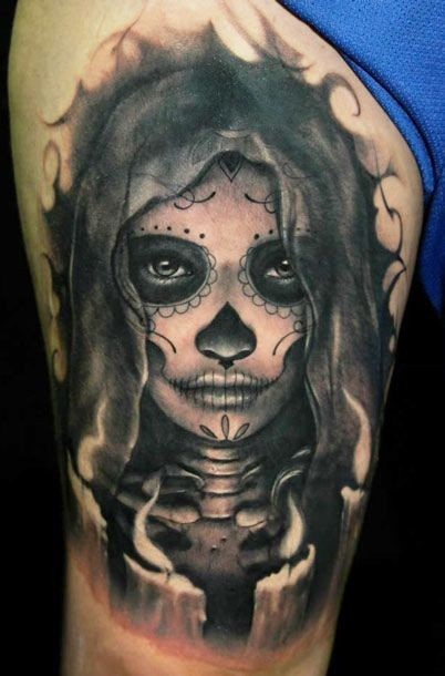 dark grim day of the dead tattoo. Black Bedroom Furniture Sets. Home Design Ideas