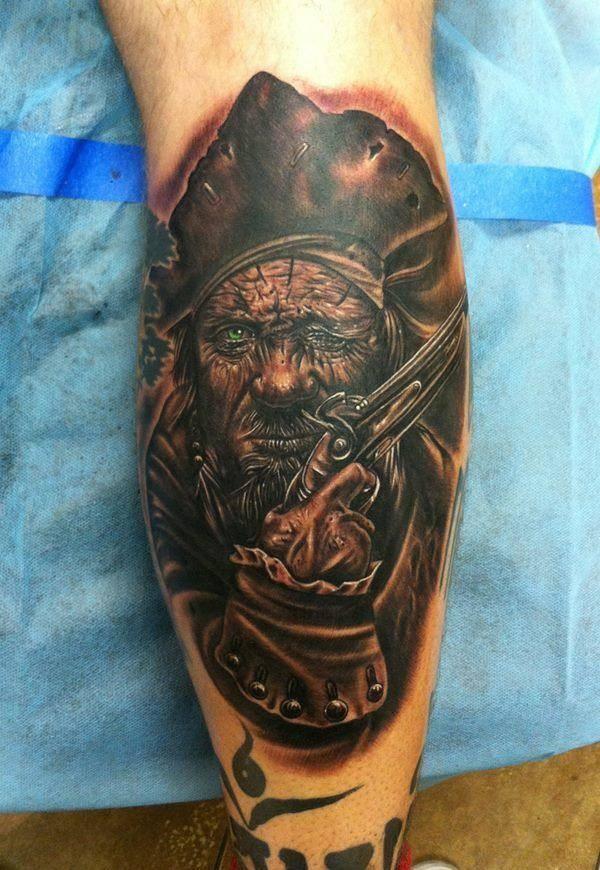 Dark Ink Gun Pirate Face Tattoo On Leg  Tattooimagesbiz