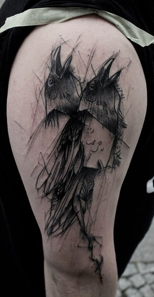 Dark sketch style black ink shoulder tattoo of crow