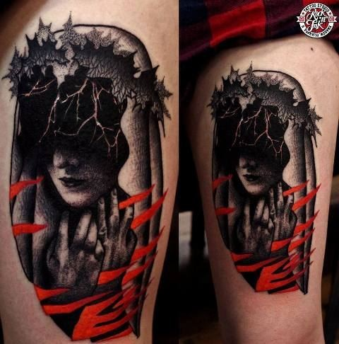 Dark surrealism style colored thigh tattoo on burning woman portrait