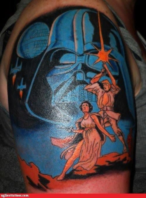 Darth Vader&quots image and Star Wars heroes scenery colored tattoo on arm top