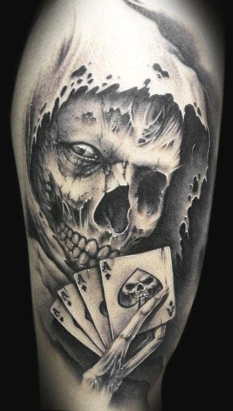 Death and playing cards tattoo