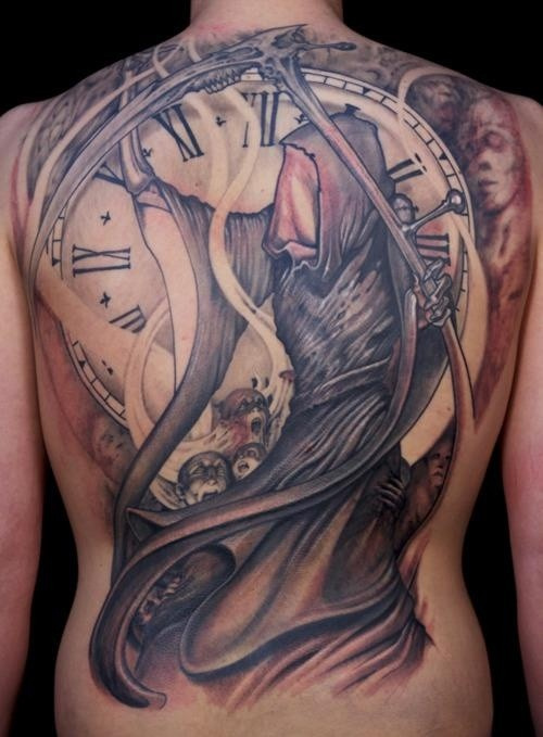 Death and watch tattoo on whole back