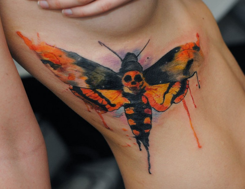 Death head hawk moth watercolor by dopeindulgence