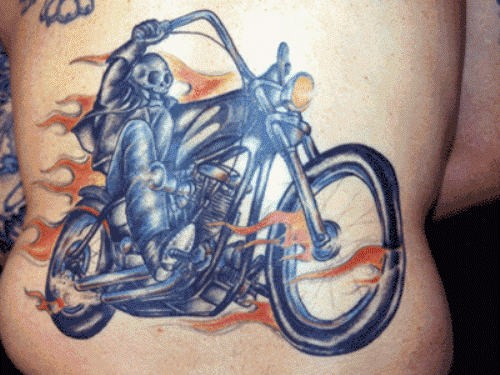 Death racer on a motorcycle tattoo