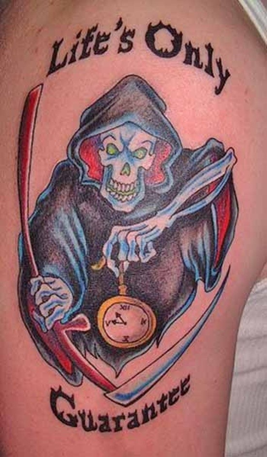 Death with a scythe and watches tattoo