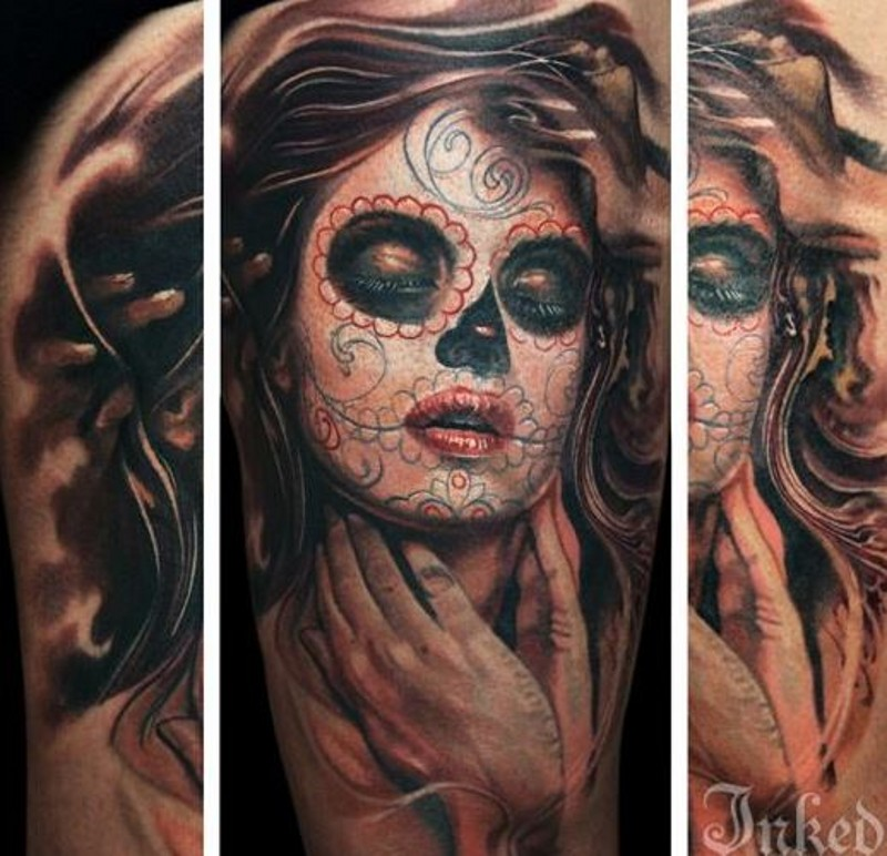 Delightful day of the dead girl with long hair tattoo