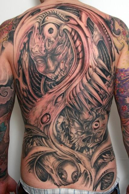 Demon monster tattoo backpiece by graynd