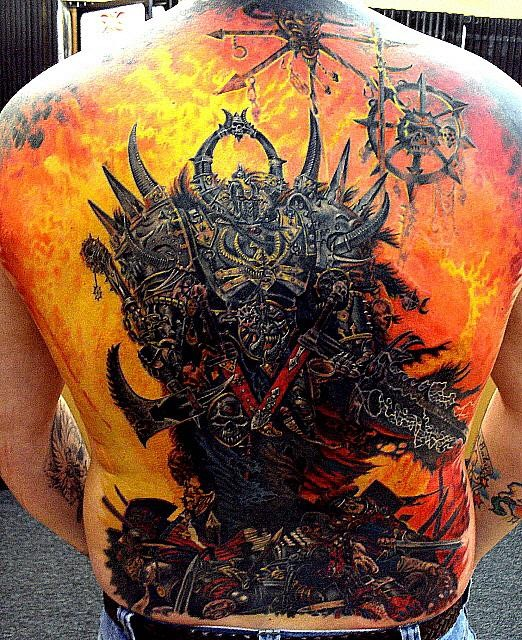 Demon tattoo on the back