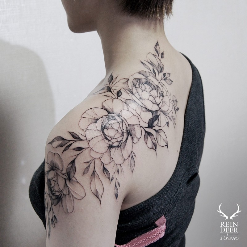 Designed by Zihwa shoulder tattoo of beautiful flowers